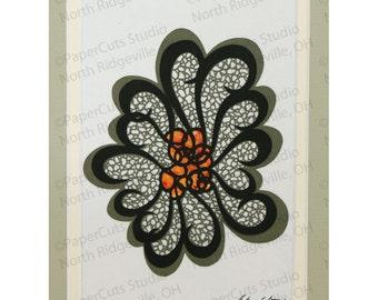 Mosaic Flower Papercutting, Handcut Original, Double-layered