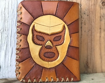 Lucha Libre, Lucha Libre Wallet, Leather Wallet, Leather Cardholder, Tan Leather Wallet, Business Cardholder, Unisex Accessories