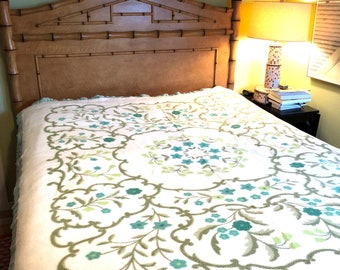Vintage FLORAL COTTON Wool Queen BLANKET