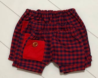 Button Pocket Shorties size M (6-12mths)