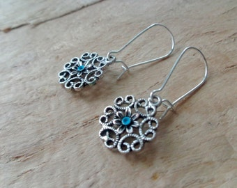 Everyday Silver earrings small Simple Jewelry turquoise silver filigree boho elegant earrings