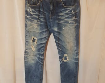 Men's distressed slim jeans size 32