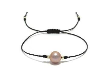 Freshwater Pearl Bracelet, Single Pearl Bracelet, Pearl Jewelry, Pearl Jewellery, Dainty Pearl Bracelet, Pearl String Bracelet, Gift for Her