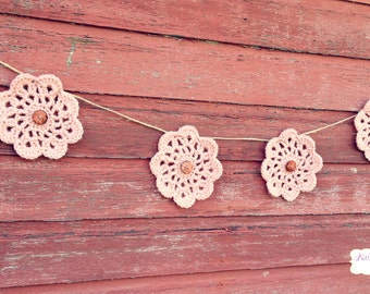 Baby pink flower bunting