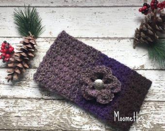 Handmade Earwarmer Headband Crochet Violet Purple Grey Gray Nordic Ear Warmer Head Band Messy Bun Warmer Ponytail Wrap