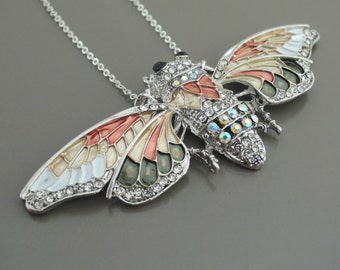 Statement Necklace - Cicada Necklace - Butterfly Necklace - Silver Enamel Necklace - Rhinestone Necklace - Bug Jewelry - Handmade