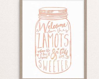 Custom Welcome Mason Jar Print - Digital Download