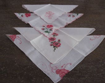 4 Vintage Cotton Linen Ladies Handkerchiefs Hankies Floral Embroidery Work Designs In Pinks and Reds Circa 1960's