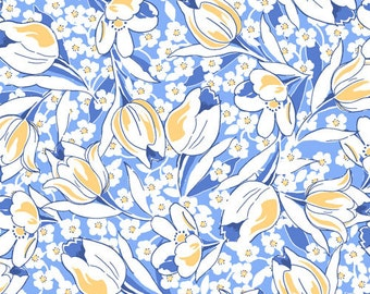 Fabri-Quilt Vintage 30's- Blue & Yellow Tulip, Fabric by the Yard