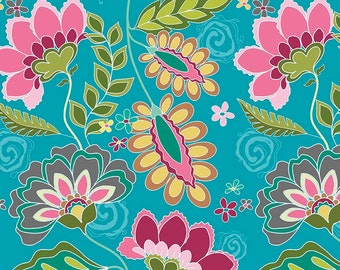 "LAMINATED COTTON  ""Exclusive"" Riley Blake Fantine Blue Fabric by the yard"