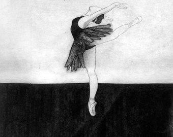 Ballerina A4 Monochrome Print