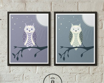 Owl Artwork Nursery Decor Chevron Art Print Owl Decor Kids Room Poster