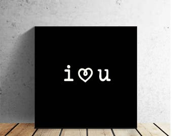 """I LOVE YOU - love quote - 12 X 12"""" wrapped canvas wall print - Valentine's Day - Wedding - Anniversary - Best Friend - Home Decor"""