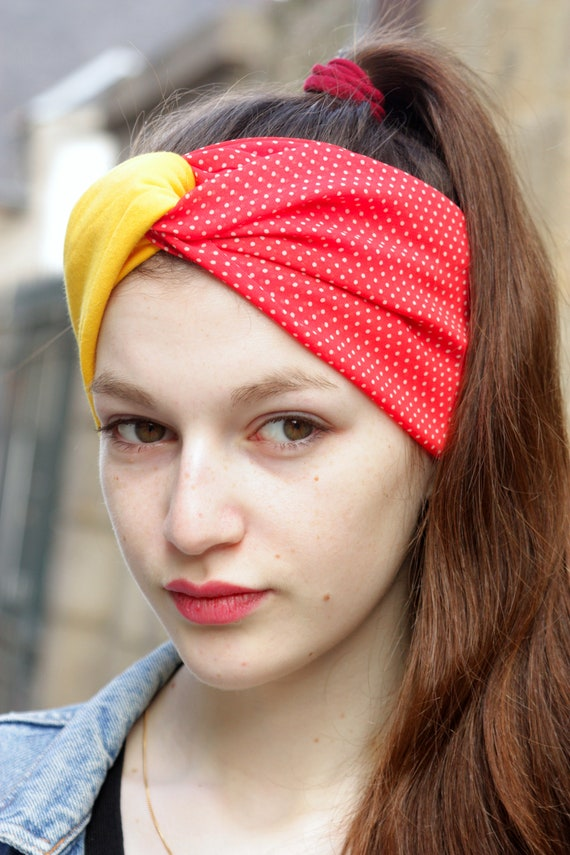 Turban headband hair Retro yellow and red dots, and white Viscose Jersey