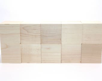 Wood Blocks - 10 Unfinished Craft Blocks - Baby Shower Activity - DIY Baby Blocks - 2 Inch Square - Unlimited Quantities