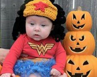 Crochet Wonder woman wig, crochet baby wig, baby inspired by wonderwoman wig, baby girl costume wig, photo prop