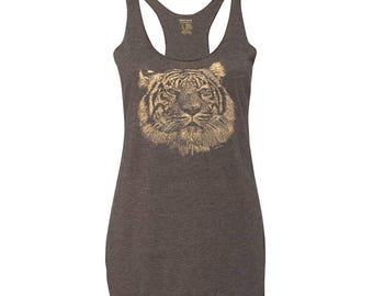 Women's Tri-Blend Tiger Tank Top, 10% Donated to Animal Causes, Animal Gift