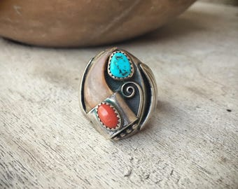 Men's Ring Vintage Turquoise Ring Sterling Silver Native American Indian Jewelry, Navajo Ring
