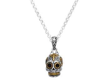 Small Sugar Skull Pendant Necklace
