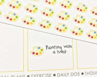 36 Paint Palette Stickers! Perfect for your Erin Condren Life Planner, Filofax, Plum Paper & other planner or scrapbooking!