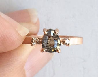 Salt and Pepper Diamond Engagement Ring   Pear Shaped Rough Gray Diamond Rose Gold  Three stone ring with conflict free repurposed diamonds