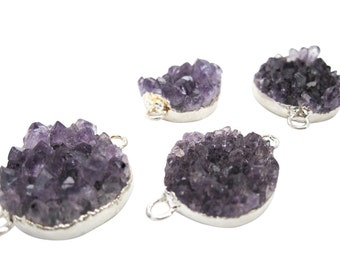 Purple Amethyst Druzy Connector, Amethyst Cluster Drusy Connector, Cluster Druzy, Silver Gemstone Connector, SKU 3504