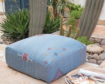 Moroccan Pouf, Cactus Silk Pouf Ottoman, Floor Cushion, Floor Pillow, Foot Stool, Refashioned from a Berber Sabra Rug. PNS142