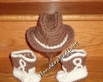 Handmade Crochet Newborn-3,3-6 Month Baby Cowboy Hat & Boots Photo Prop Set Gift Keepsake
