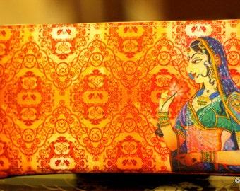 Orange Clutch, Faux Leather Purse,Traditional Indian Woman Digital Print