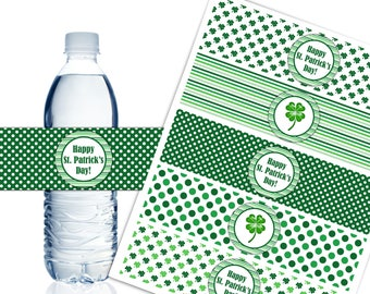 St. Patrick's Day Water Bottle Labels, Printable Irish Theme Party Decor, Luck of the Irish - Instant Download - DP573