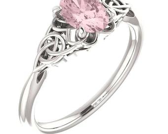 Sterling Silver Morganite Celtic Ring