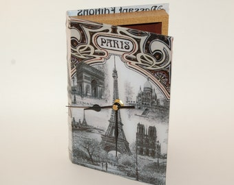 Paris Faux Book Clock