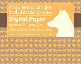Scale Pattern on Kraft Digital Paper - Single Sheet in Yellow - Printable Scrapbooking Paper