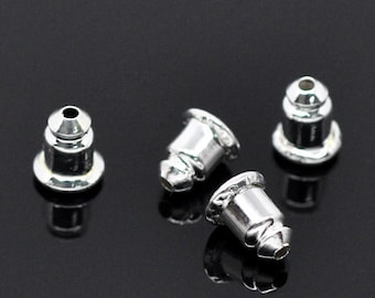 4pcs / 300pcs Whoelsale Earring Backs - Metal Earring Backs - Silver Barrel Nut Bullet Stoppers Bulk Silver Metal Ear Backs Ear Nut