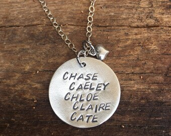 All Sterling Silver Hand Stamped Circle Tag with a Heart Charm