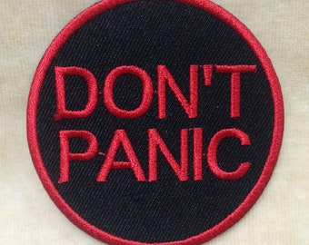 Don't Panic Iron On Patch #Black With Red