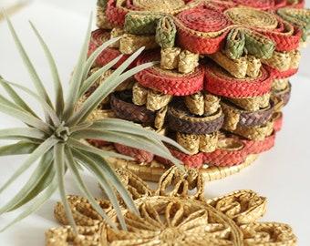 Vintage Woven Straw Trivet/Coasters   Basket Wall   Bohemian Style Decor   Boho Decorating   Raffia   Rattan   Wicker   Southwestern Style