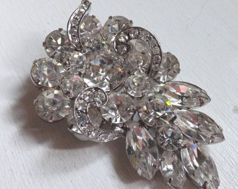 Vintage signed Weiss rhinestone brooch dimensional layered leaf crystal clear brilliant marquis stones silver tone metal ribbons of ice