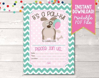 Girls Puppy Party Birthday Invitations / Instant Download Printable Birthday Party PDF