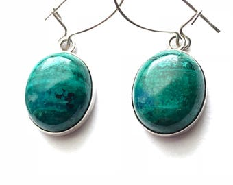 Pretty Delicate Vintage Sterling Silver and Malachite/Azurite Oval Drop Earrings