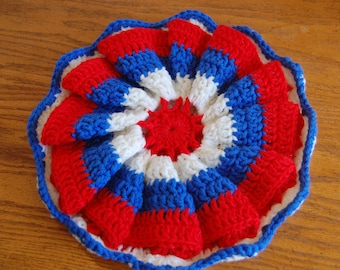Vintage Hot Pad in red, white and blue hand crochet