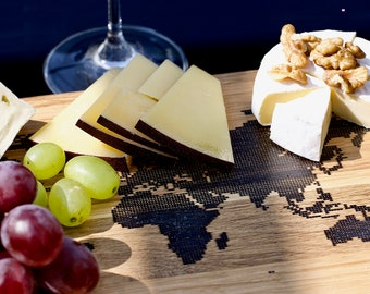 world map cheese board - oak wood with black epoxy resin - NEW handmade gift - small size 20x30cm - free shipping ups