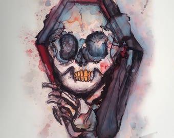Print of original Coffin skull painting