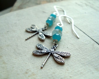 Dragonfly Earrings Jade and Aquamarine Silver Vintage Style Summer Fashion Mothers day Gifts Gifts Under 40 Shabby Chic