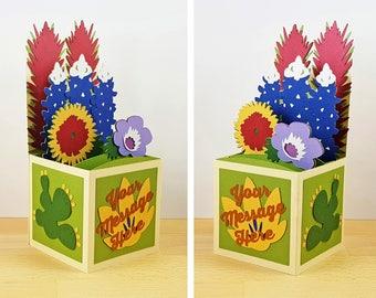 Custom Made Pop Up Card, Pop Up Texas Wildflowers Card, Pop Up Flower Card, Bluebonnet Card, Custom 3D Box Card, Personalized, CardBloom