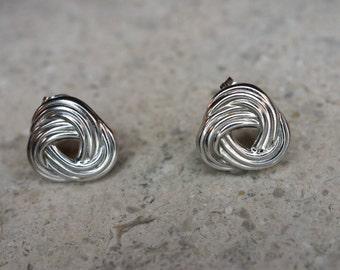 Sterling Silver Triple Knot Post Stud Earrings