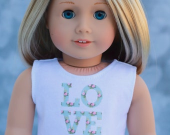 American Made Doll Clothes | Mint Green Rose Floral LOVE CROP TOP for 18 inch doll
