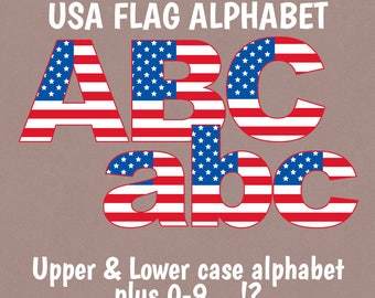 USA Flag Alphabet Clipart, Upper and Lower case American Flag Alphabet, ABC USA Flag, Commercial Use, American alphabet clipart flag letters
