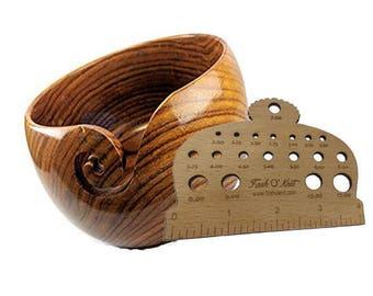 Free Knitting Gauge with Sheesham wood Yarn Bowl