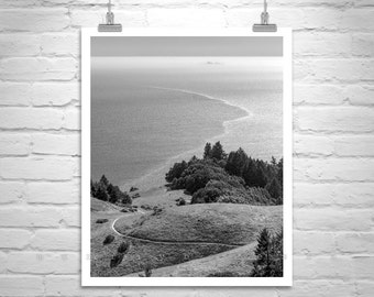 Mount Tamalpais Picture, Mount Tam Photo, Black and White Marin County Print, Mt Tam Art, Farallon Islands Art, Marin County Gift, Tamalpais